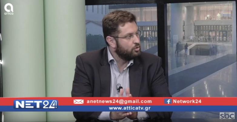 """Ο Κώστας Ζαχαριάδης στο """"ΝΕΤ24"""" (09/10/2019) με τον Βασίλη Ταλαμάγκα"""